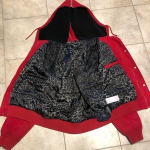 Red guess jacket with zip up hood